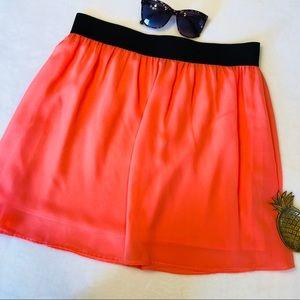 Forever 21 Pink Full Skater Mini Skirt